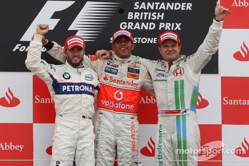 Podio de F1 en Silverstone 2008: 1. Lewis Hamilton, 2. Nick Heidfeld, 3. Rubens Barrichello