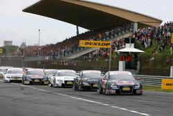 Start: Mattias Ekström, Audi Sport Team Abt Sportsline, Audi A4 DTM, leads Timo Scheider, Audi Sport Team Abt, Audi A4 DTM, Tom Kristensen, Audi Sport Team Abt, Audi A4 DTM