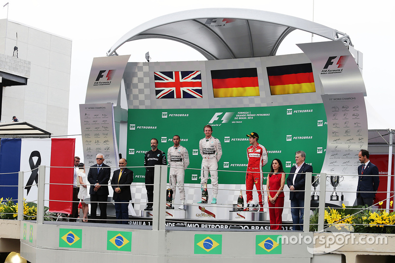 Podium: race winner Nico Rosberg, Mercedes AMG F1 W06, with second place Lewis Hamilton, Mercedes AMG F1 W06 and third place Sebastian Vettel, Ferrari