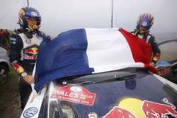 Sébastien Ogier and Julien Ingrassia, Volkswagen Polo WRC, Volkswagen Motorsport with the french flag for the victims of the Paris terrorist attacks
