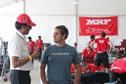 Juan Pablo Montoya‬ with J. Anand, Head of operations of Team MRF