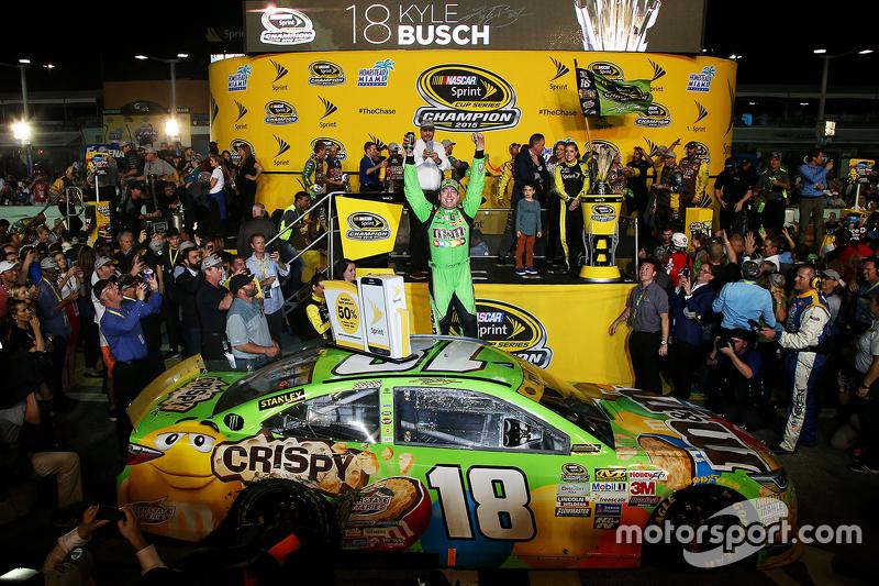 Championship Victory Lane: Race winner and 2015 NASCAR Sprint Cup Champion Kyle Busch, Joe Gibbs Rac