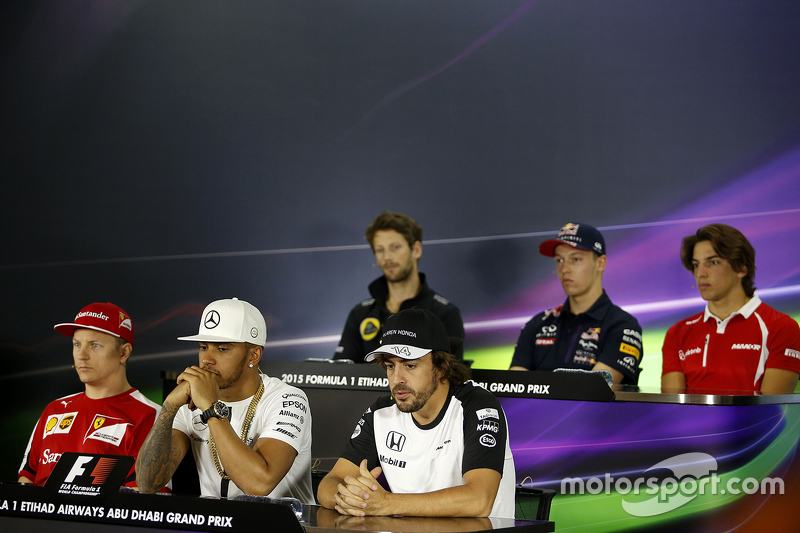 Die FIA-Pressekonferenz: Romain Grosjean, Lotus F1 Team; Daniil Kvyat, Red Bull Racing; Roberto Merhi, Manor Marussia F1 Team; Kimi Räikkönen, Ferrari; Lewis Hamilton, Mercedes AMG F1; Fernando Alonso, McLaren