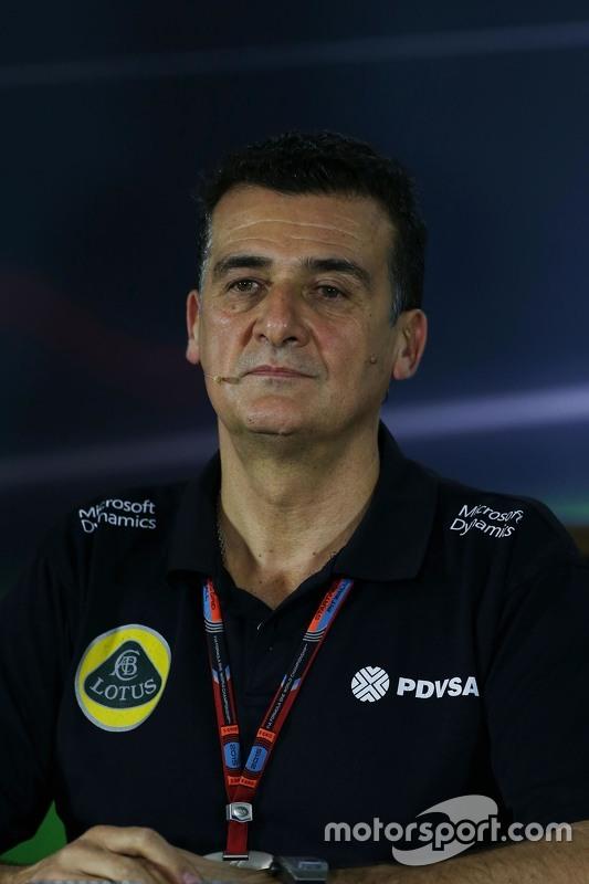 Federico Gastaldi, Lotus F1 Team afgevaardigd teambaas in de FIA persconferentie