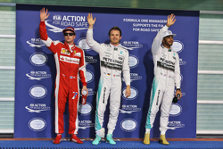 Third place Kimi Raikkonen, Ferrari, polesitter Nico Rosberg, Mercedes AMG F1 Team, second place Lewis Hamilton, Mercedes AMG F1 Team