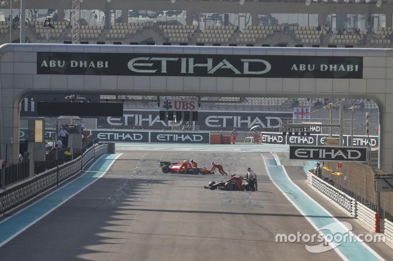 Die Autos von Stoffel Vandoorne, ART Grand Prix, und Rene Binder, MP Motorsport, werden zurück in die Box gebracht