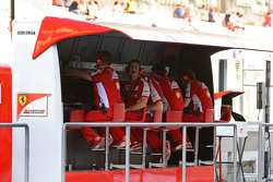 Ferrari team members on the pit wall