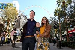 2015 NASCAR Sprint Cup Series champion Kyle Busch, Joe Gibbs Racing Toyota with wife Samantha qnd son Brexton