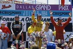 Podium: race winner Keke Rosberg, Williams, second place René Arnoux, Ferrari, third place Elio de Angelis, Lotus
