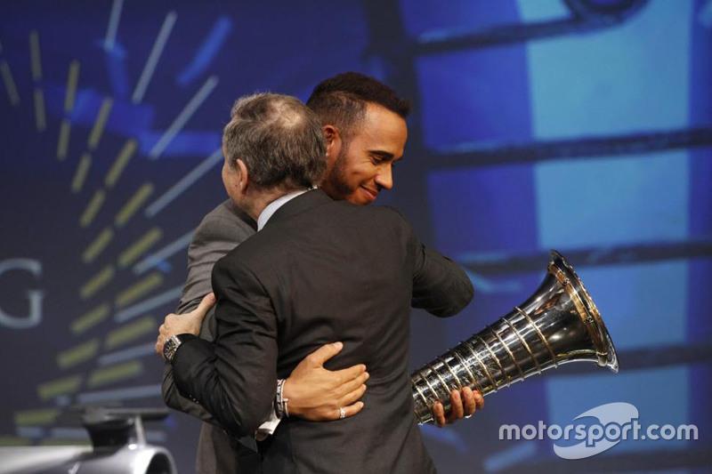 Lewis Hamilton, Mercedes AMG F1 and Jean Todt, FIA President