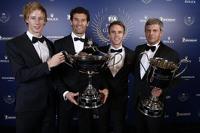布兰登·哈特利、马克·韦伯、蒂莫·伯恩哈德,保时捷车队;与保时捷LMP1主管Fritz Enzinger