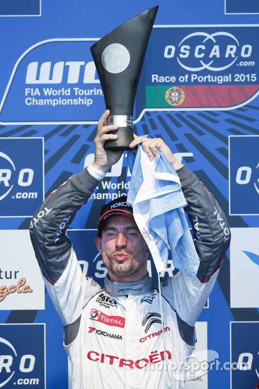 Podium: race winner Jose Maria Lopez, Citroën World Touring Car team