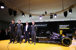 (L to R): Esteban Ocon, Renault Sport F1 Team test driver, Jolyon Palmer, Renault F1 Team, Carlos Ghosn, Chairman of Renault and Kevin Magnussen, Renault F1 Team
