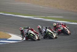 Tom Sykes, Kawasaki Racing Team, Jonathan Rea, Kawasaki Racing Team et Chaz Davies, Aruba.it Racing - Ducati Team