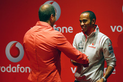 Lewis Hamilton, McLaren Mercedes and Kai Ebel, Vodafone, Music Quiz
