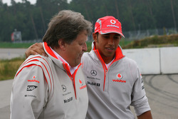 Norbert Haug, Mercedes, Motorsport chief and Lewis Hamilton, McLaren Mercedes