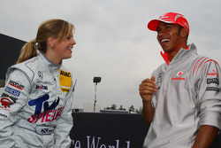 Susie Stoddart, Persson Motorsport AMG Mercedes and Lewis Hamilton, McLaren Mercedes