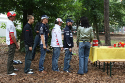 The 5 German current F1 drivers, Nico Rosberg, WilliamsF1 Team with Timo Glock, Toyota F1 Team, Sebastian Vettel, Scuderia Toro Rosso, Adrian Sutil, Force India F1 Team and Nick Heidfeld, BMW Sauber F1 Team make a visit to the campsite