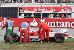 Timo Glock, Toyota F1 Team, TF108, crashed