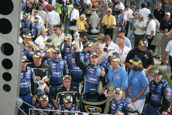 Victory circle: race winner Jimmie Johnson celebrates