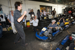 Drivers and media go-kart event: Ron Fellows gives instructions