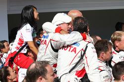 The Toyota F1 Team celebrate