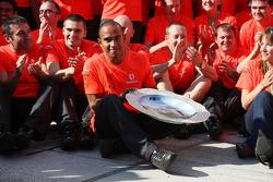 Heikki Kovalainen celebrates his first win with Lewis Hamilton, Ron Dennis and McLaren Mercedes team
