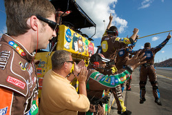 M&M's Toyota crew members celebrate the victory of Kyle Busch