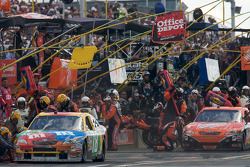 Pit stop for Kyle Busch and Tony Stewart