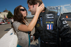 Provisional pole winner Jonathan Bomarito celebrates with his lovely wife