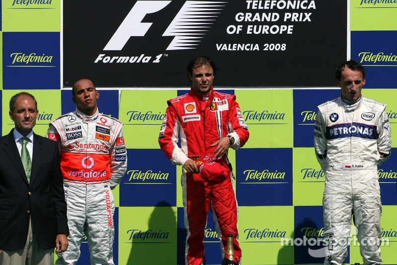 2008: 1. Felipe Massa, 2. Lewis Hamilton, 3. Robert Kubica
