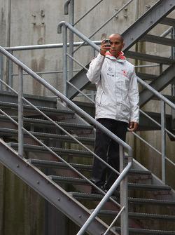 Lewis Hamilton, McLaren Mercedes takes a picture on his phone