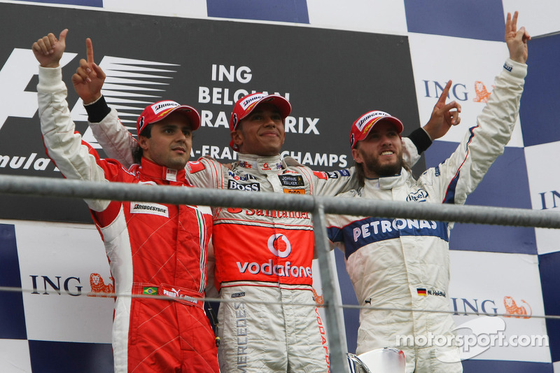 Podium: race winner Lewis Hamilton, second place Felipe Massa, third place Nick Heidfeld
