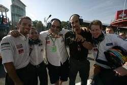 The Racing Engineering celebrate Giorgio Pantano pole position