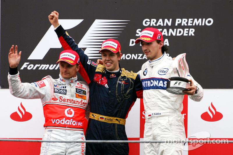 Podium: 1. Sebastian Vettel, 2. Heikki Kovalainen, 3. Robert Kubica