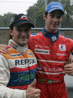 2008 GP2 Champion Giorgio Pantano with Bruno Senna