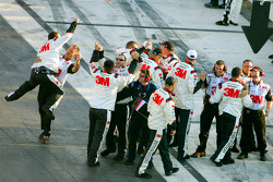 The 3M Ford crew celebrates the win of Greg Biffle