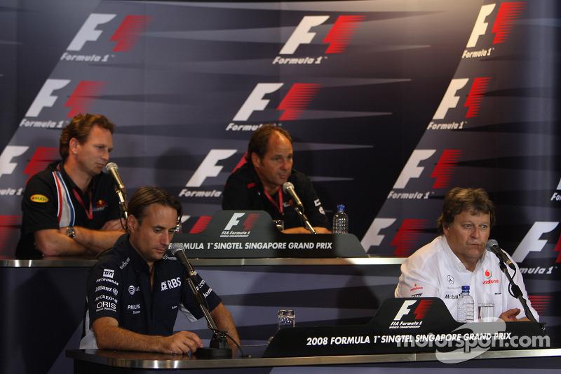 Pressekonferenz: Christian Horner, Red Bull Racing; Gerhard Berger, Scuderia Toro Rosso; Adam Parr, Williams F1 Team; Norbert Haug, Mercedes