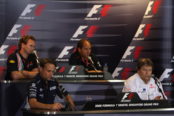 FIA Friday press conference: Christian Horner, Red Bull Racing, Sporting Director, Gerhard Berger, Scuderia Toro Rosso, 50% Team Co Owner, Adam Parr, Williams F1 Team and Norbert Haug, Mercedes, Motorsport chief