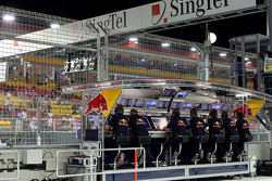 The Red Bull Racing pit perch