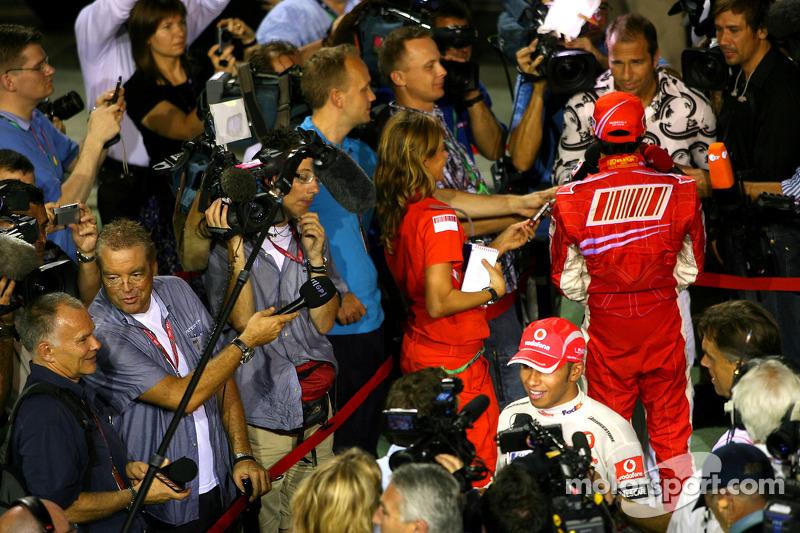 Lewis Hamilton, McLaren Mercedes; Felipe Massa, Scuderia Ferrari