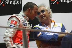 Podium: third place Lewis Hamilton and Flavio Briatore