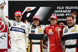 Podium: race winner Fernando Alonso, second place Robert Kubica, third place Kimi Raikkonen