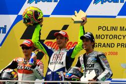 Podium: 1. Valentino Rossi, 2. Dani Pedrosa, 3. Andrea Dovizioso