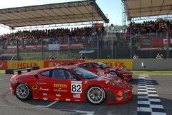 Gianmaria Bruni in the Risi Competitione Ferrari F430 and Toni Vilander in the AF Corse Ferrari F430