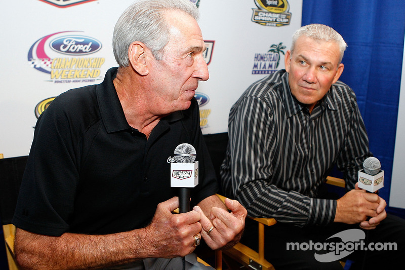 Ned and Dale Jarrett, one of two father-son combinations to win the NASCAR Sprint Cup Series championship, speak with the media after the 2008 Championship Contenders Press Conference