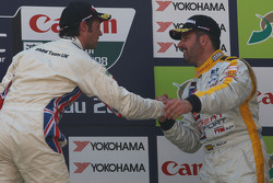 Podium: second place Andy Priaulx,  third place and WTCC 2008 champion Yvan Muller