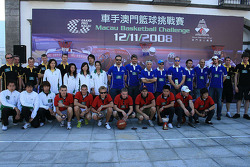 Basketball shootout: the teams pose afterwards