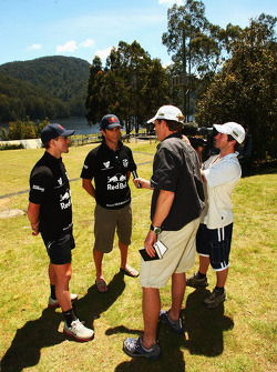 Launceston, Australia: Jan Kubicek and Liewue Boonstra of Team Red Bull are interviewed