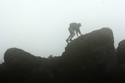Launceston, Australia: A competitor climbs a rock